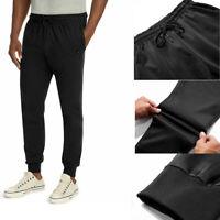 Black Sweatpants Men's Jersey Joggers Side Pockets Comfortable Athletic Fit
