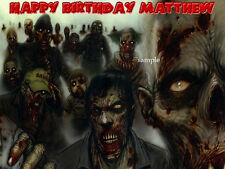 ZOMBIE Edible Photo CAKE Topper ICING Image Walkind Dead  FREE SHIPPING