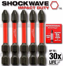 "5 Milwaukee PH2 Shockwave 2"" IMPACT Duty Bit 48-32-4602 SAVE $$ w/Combined Ship"