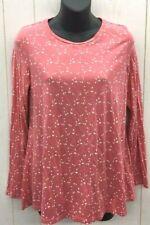 BODEN Shirt Womens 8 Pink White Print Sabrina Swing Jersey Knit Stretch Long Slv