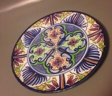 Pascual Zorrilla Spanish art pottery wall plate cobalt blue green abstract sign