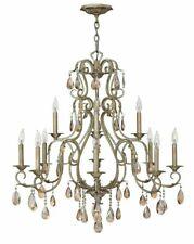 Hinkley Lighting 4778SL Carlton 12 Light 2 Tier Crystal Chandelier, silver Leaf