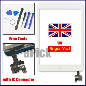 White Screen For iPad mini 1 2 Touch Glass Digitizer Replacement IC home button