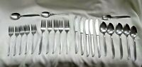 23 pc. Mid Century Stainless Flatware Set Japan Curved Handle Tips