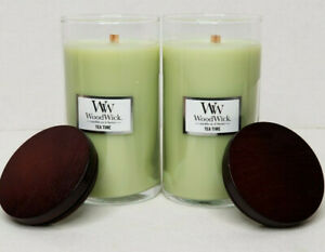 WoodWick Tea Time Pillar Jar Candles New 18.6 oz ea x 2 Crackles Disc. Scent