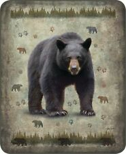 BLACK BEAR PLUSH 79 x 96 QUEEN BLANKET : MOUNTAIN CABIN FAUX FUR BED COVER