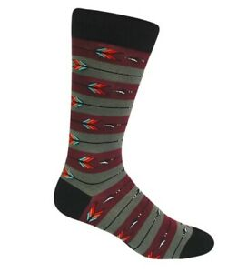 NEW Men's Burgundy and Green Striped with Arrow Pattern Sock