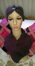 OOAK! Hand Knit Ladies Cowl Scarf with matching headband mulberry and grey Wool