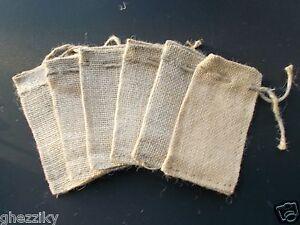 """100 Mini Burlap Bags - Natural Jute Drawstring 2"""" x 3"""" Small Sack Favor Bag 2x3"""