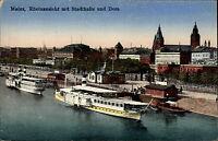Mainz alte Ansichtskarte 1930 Rhein Dampfer  mit Stadthalle und Dom Schiffe
