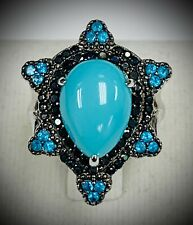 Meher's Jewelry 6.90 ctw Pear Turquoise, Apatite & Black Spinel Gemstone Ring SS