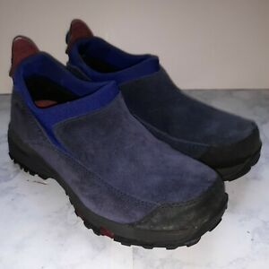 LL Bean Women's Thinsulate Blue Suede Slip On Winter Loafer Shoes Sz 6.5M VG N