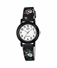 "Casio Women's Leather/Fabric Black ""Floral"" Analog Watch LQ-139LB-1B2"