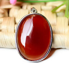 Oval Shaped Super Huge Oval Red Agate Gemstone Solid Silver Necklace Pendants