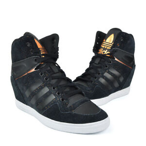 Adidas Originals Womens M Attitude Up Wedge Shoes Black Suede S75017 UK 4.5 -5.5