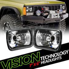 7X6 Crystal Black Glass Lens Headlights Headlamps Kit H4 H6052 H6054 H6014 Vg7