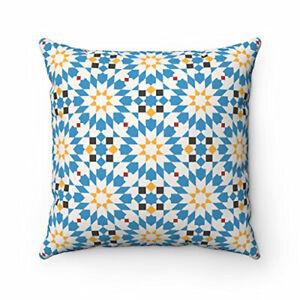 Geometric Design Original Moroccan Tiles Home Decor Cushion Pillow Cover Blue
