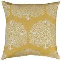 "Mulberry Tree Cushion in Ochre Yellow and White. 17x17"" Square. Double Sided."