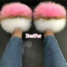 Women's Slides Max Large XXL Real Fox Fur Slippers Furry Sandals Flat Shoes
