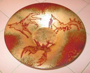 1999 Studio Artist Enamel Metal Bowl Kelso Sansone Moose Eagle Wolf LE 159/220