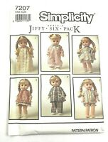 New Simplicity Pattern 7207 Baby Doll Clothes Abbie Jiffy Six Pack Uncut 1 Size