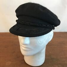 413176a4c2e32 Vintage Black Wool Greek Fishermans Hat Size Small Made in Greece CH21
