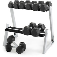 Dumbbell Weight Set with Weight Rack 10-30 lb Rubber Weights Home Gym Workout