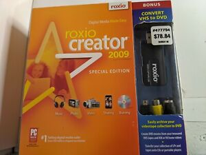 Roxio Creator 2009 Special Edition Convert VHS to DVD Adapter all included