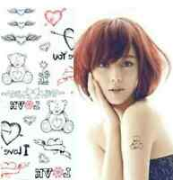 Carte de tatouage temporaire nounours coeur love tatouage éphemere décalcomanie