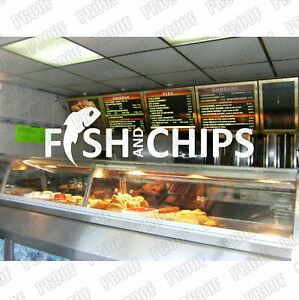 Large Fish & Chips Sticker, Chip Shop, Shop Window Stickers, 1760mm x 500mm