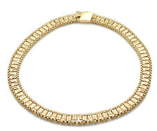 "Vintage 14k yellow gold Geometric Chain Necklace Collar 15"" Estate"