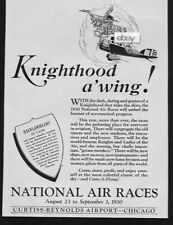 NATIONAL AIR RACES 1930 CURTIS-REYNOLDS AIRPORT CHICAGO KNIGHTHOOD A' WING! AD