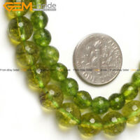 """Faceted Gemstone Green Peridot Loose Beads For Jewelry Making Strand 15""""In Lots"""
