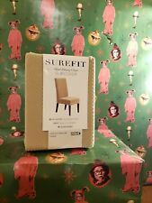 Sure Fit - Stretch Pinpoint Short Dining Room Chair Slipcover - Cream New