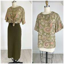 Vtg 90s Boxy PAISLEY Lord & Taylor Silk Top Blouse Shirt M