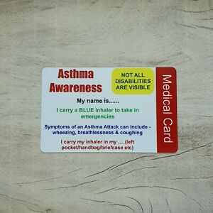 Medical Personalised Asthma ID Wallet Card contact details Disability