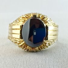 Vintage Hematite Men's Ring #7, Oval Cut 10x12 mm, 14K Gold Plated