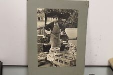 "Vintage 1975 Photo Vegetable Seller Farmers market Fruit Stand 19"" x 13"""