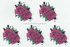 LOT 5 ROSES WITH  BLACK DESIGN NEW FOR 2015 Temporary Tattoo