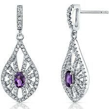 14K White Gold Amethyst Chandelier Earrings 0.50 ct