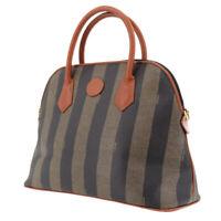 FENDI Pequin Striped Hand Bag Brown Black PVC Leather Authentic #UU279 Y