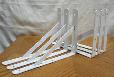 "6 Heavy Duty White Steel 12"" x 8"" Shelf Brackets! 500 Lb Metal Lot L Countertop"