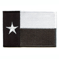 Texas State Flag Black And White Greyscale Embroidered Iron On Patch