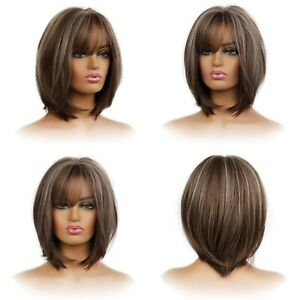 Women's Wig Ash Brown Highlight Bob Simple Fashion Layered Natural Wigs Syntheti