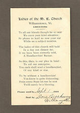 WILLIAMSTOWN, VT ~ POEM ABOUT THE M.E. CHURCH LADIES & THEIR BAZAAR ~ used 1909