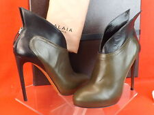 NIB ALAIA TWO TONE LEATHER WINGED WINGS PLATFORM BACK ZIP ANKLE BOOTS  40.5