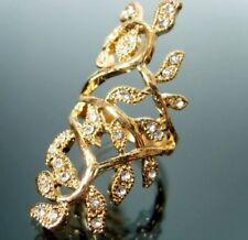 Anillo de Hoja de Vid Oro Largo Talla K Diamantes de Imitación de Cristal