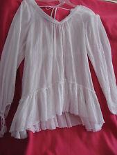 "Rebecca Taylor Women's White ""Easy Breezy Blouse"" Size 12 NEW 100% Cotton"