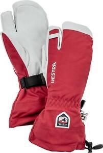 2020 Men's Hestra Army Leather Heli  3 Finger Ski Gloves Size 9 Red 30572