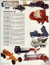 1962 PAPER AD 2 Sided Structo Toy Truck Camper Pick Up Crane Dump Fire Dozer